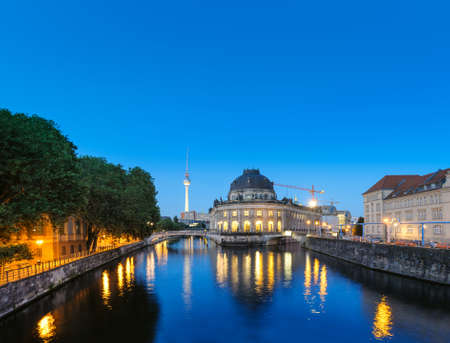 bode: Night time illuminations of Museum Island in Berlin, Germany. Panorama image, that has been tinted.