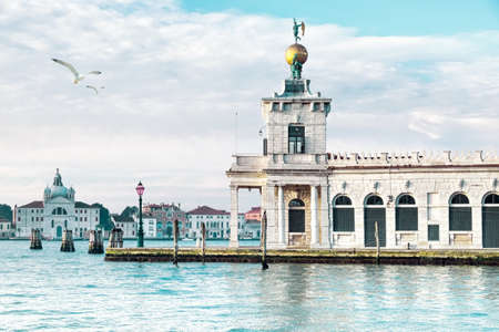 venice: Punta della Dogane of Dogana da mar, former Customs House in Venice, Italy on a bright sunny day Editorial