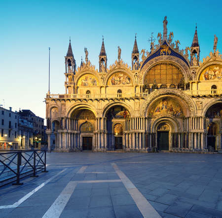 Cathedral of San Marco, Venice, Italy, illuminated at night 스톡 콘텐츠