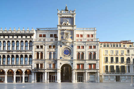 Astronomical clock tower with zodiac signs on Piazza San Marko in Venice, Italy
