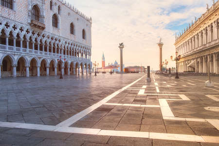 square image: Duks palace on st. Marks square, Venice Italy. This image is toned. Editorial