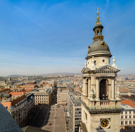 stephen: Budapest cityscape and Basilica of Saint Stephen bell tower, focus on the tower Stock Photo