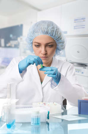 Young female tech or scientist examines sample in test tube. Shallow DOF, focus on the eyes. Stock Photo