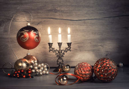 space wood: Vintage Christmas decorations on wood. This image is toned. Space for your greeting text. Stock Photo