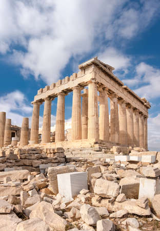 Parthenon temple on a bright day. Acropolis in Athens, Greece. Vertical panorama image. Stok Fotoğraf