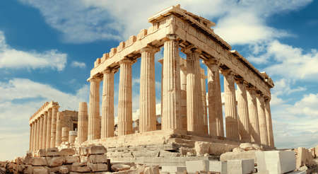 old architecture: Parthenon temple on a bright day. Acropolis in Athens, Greece. Horizontal panorama, this image is toned.