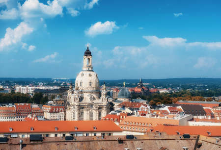 frauenkirche: Skyline of Dresden, Saxony, Germany with Church of Our Lady (Frauenkirche) on a bright day
