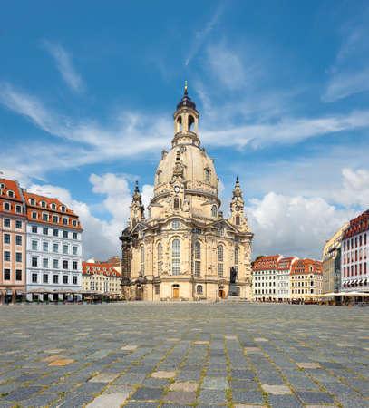 frauenkirche: Frauenkirche in Dresden, Saxony, Germany, tilt-shift panoramic image Stock Photo