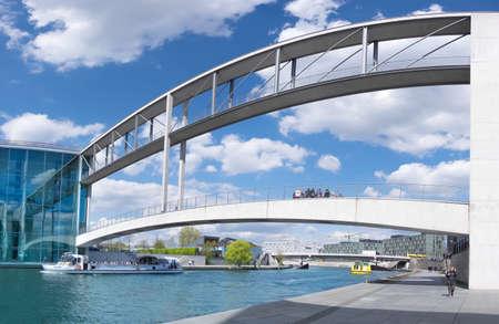Berlin, Germany - May 12, 2016: Pier Paul-Loebe-Haus  Reichstag. Paul-Loebe-Haus connected by bridge with Marie-Elisabeth-Lueders-Haus over Spree river.