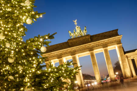 Brandenburg Gate and Christmas tree in Berlin, Germany