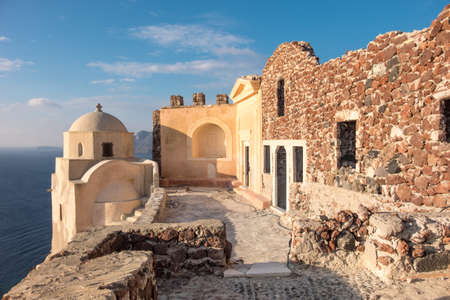 Byzantine Castle Ruins in Oia village, Santorini, Greece, early in the morning