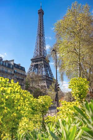 romance sky: Paris, Eiffel tower on a bright spring day Stock Photo
