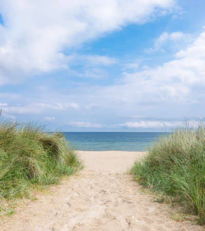 Entrance to the beach in Rugen island, Northern Germany. Romantic travel background
