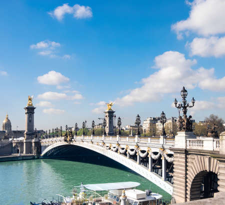 Alexandre Bridge in Paris on a bright sunny morning in Spring, panoramic image, space for your text
