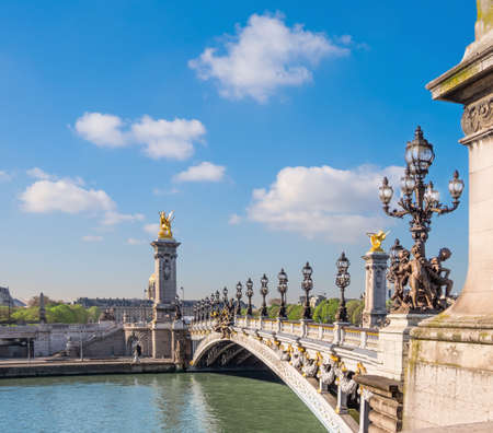 Alexandre Bridge in Paris on a bright sunny morning in Spring, space for your text