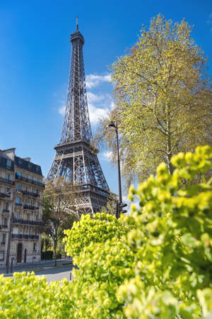 romance sky: Paris, Eiffel tower on a bright sunny day in Spring Stock Photo