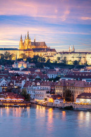 Prague Castle and Mala Strana district across Vltava river in the evening