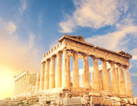 greek column: Acropolis in Athens, Greece. Parthenon temple on a sunset. This image is toned. Stock Photo