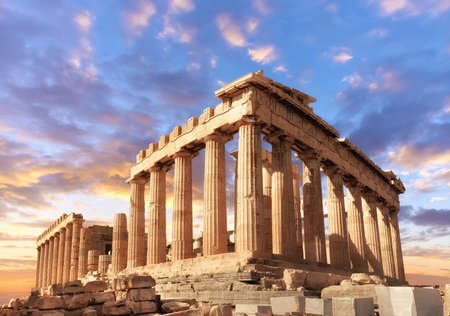Parthenon temple on a sinset. Acropolis in Athens, Greece, This picture is toned. 스톡 콘텐츠