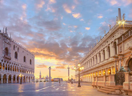 Duks palace on st. Marks square, Venice Italy at dawn. This image is toned.