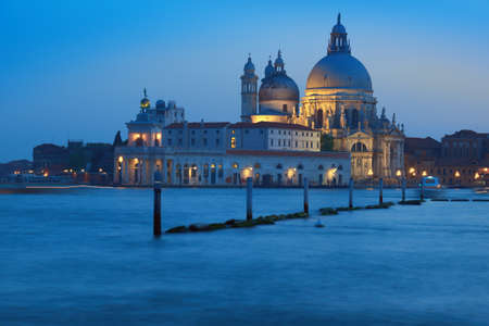 italy landscape: Santa Maria della Sallute early in the evening, Venice, Italy
