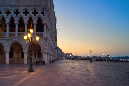 San Marco square in the morning. Venice or Venezia city, Italy, Europe. This image is toned.