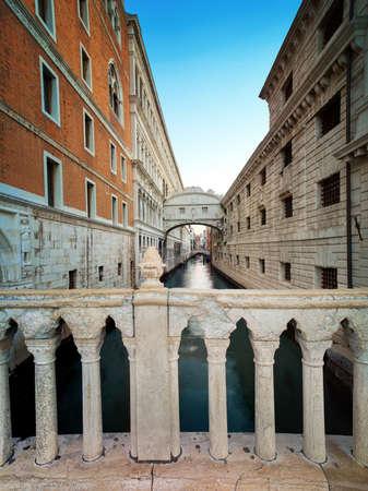 The Bridge of Sighs (Ponte dei Sospiri in Italian), a tilt-shift image with railing of Ponte Della Canonica, Venice, Italy