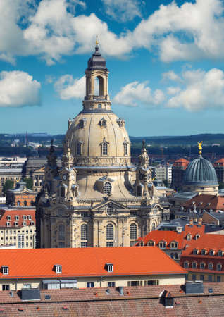 dresden: Skyline of Dresden, Saxony, Germany with Church of Our Lady (Frauenkirche) on a bright day