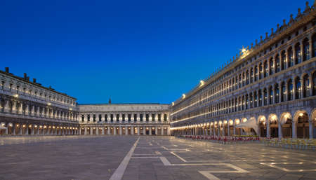 St. Marks square in Venice at night, tilt-shift panoramic image