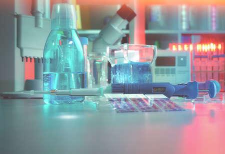 Biopsia: Antecedentes científicos con herramientas modernas de histopatología: frasco de vidrio para la tinción de portaobjetos microscópicos de tejidos de pacientes y herramientas de ensayo. Espacio para su texto en la parte inferior. Esta imagen está tonificada.