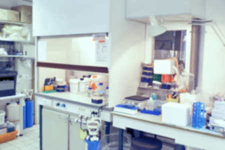 no image: Scientific background: blurred interior of modern cell culture room in modern laboratory. This is defocused background image, no focus point here. Ideal as a presentation background.