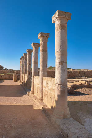 Ancient temple columns in Kato Paphos Archaeological Park in Paphos city, Cyprus. Stock Photo