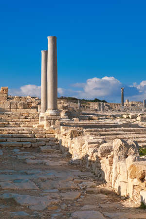 Antique columns at Kourion archaeological site in Cyprus, Limassol district