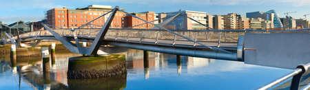 Sean OCasey bridge in Dublin, Ireland, on a bright day. Panoramic image. Stock Photo