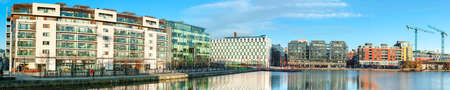DUBLUN, IRELAND- February 4, 2017: Modern Dublin Docklands or Silicon Docks. Panorama of modern apartments, Grand Canal Square, The Bord Gais Energy Theatre and Accentures Global Head Office.