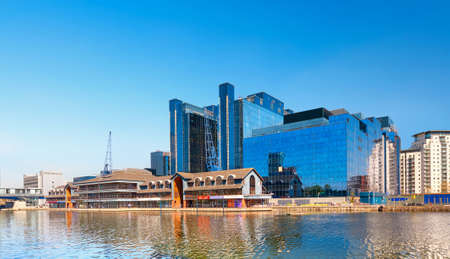 isles: LONDON, ENGLAND - MAY 3, 2013: Harbour Exchange Square on South Quay part of the Canary Wharf complex, imcluding Equinix building. Millharbour, Isle of Dogs in London. Editorial