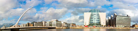 DUBLIN, IRELAND - FEBRUARY 1, 2017: Panoramic image of Convention Centre Dublin (CCD) and Samuel Beckett Bridge over the river Liffey. Editorial