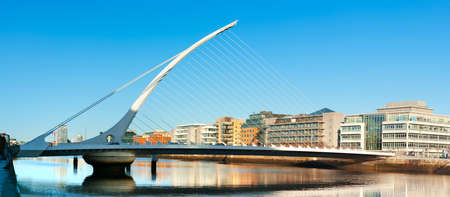 DUBLIN, IRELAND - FEBRUARY 4, 2017: Panoramic image of The Samuel Beckett Bridge in Dublin, panoramic image.