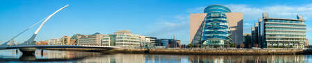 DUBLIN, IRELAND - FEBRUARY 4, 2017: Panoramic image of Convention Centre Dublin (CCD) and Samuel Beckett Bridge over the river Liffey.