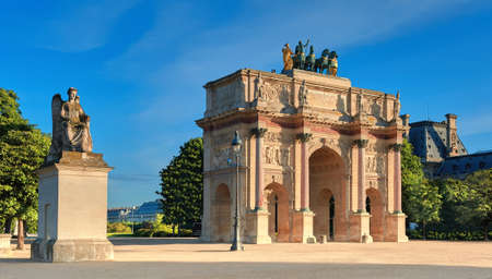 Arc de Triomphe du Carrousel, a monument situated between Louvre Museum and grounds of Tuileries Gardens, panoramic image