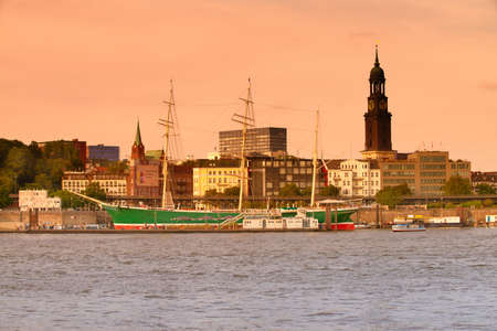 HANBURG, GERMANY- AUGUST 12, 2015: Historical sailing ship Rickmer Rickmers in Hamburg. It is a three masted barque, nowadays a museum ship. This picture is toned.