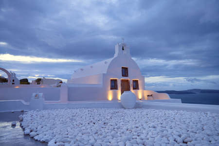 expanse: A local orthodox chapel in Oia, Santorini island, Greece, early in the moirning