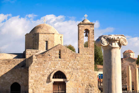 Panagia Chrysopolitissa Basilica in Paphos, Cyprus, on a bright day Stock Photo