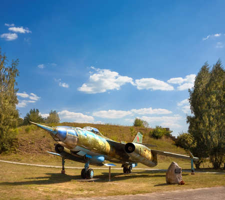 FINOWFURT, GERMANY - AUGUST 22, 2015: Yakovlev Yak-28R, a dedicated tactical reconnaissance version of the Yak-28I, an old Soviet combat aircraft. Finowfurt Aviation Museum (Luftfahrtmuseum Finowfurt) in Brandenburg, Germany. Editorial