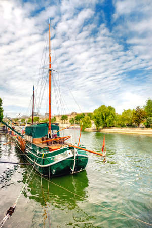 ile de la cite: Historical Sailing ship on Seine in Paris, France.This image is toned. Stock Photo