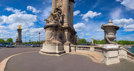 Entrance to Alexandre Bridge in Paris on a bright sunny day, panorama image Stock Photo