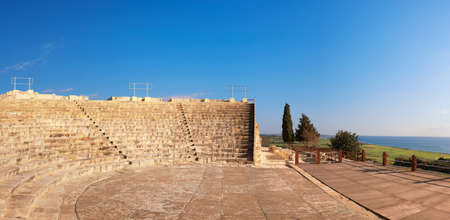 Small greek amphitheater in archaeological site in Paphos, Cyprus, panoramic image