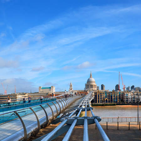 London, Millennium bridge and St. Paul on a  bright sunny day, panoramic image, square composition Stock Photo