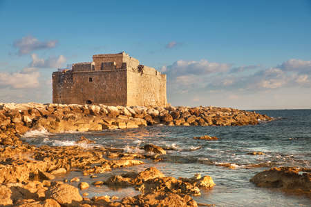 Pafos Harbour Castle, also known as Turkish Castle in Pathos, Cyprus Stock Photo