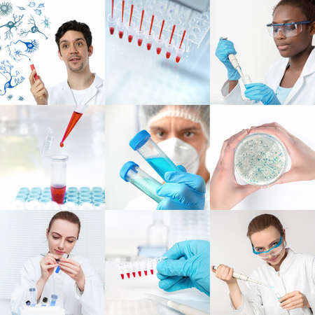 Scientists working in research facility or laboratory, set of nine pictures, including five portraits. Stock Photo